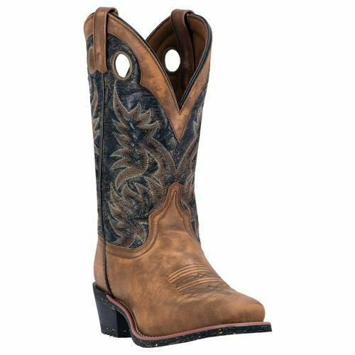 Homme Larougeo Stillwater Western Cowboy Bottes en Cuir Marron Clair Noir 68358