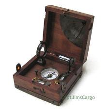 "Small Compass, Telescope, Clinometer, Spirit Level, Alidade w/ 4.5"" Wood Case"