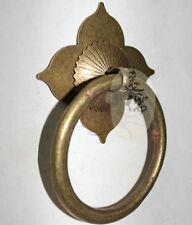 Chinese Antique Vintage Lotus Solid Brass Door Drawer Knocker Set