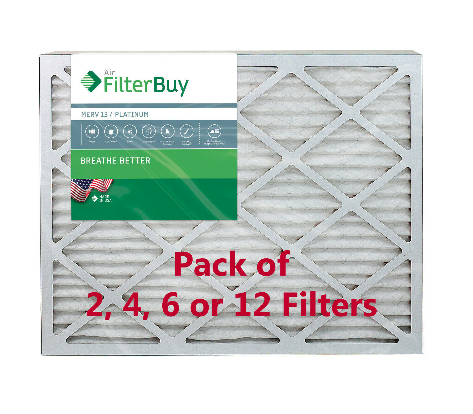 Nordic Pure 20x24x1 MERV 13 Tru Mini Pleat AC Furnace Air Filters 6 Pack