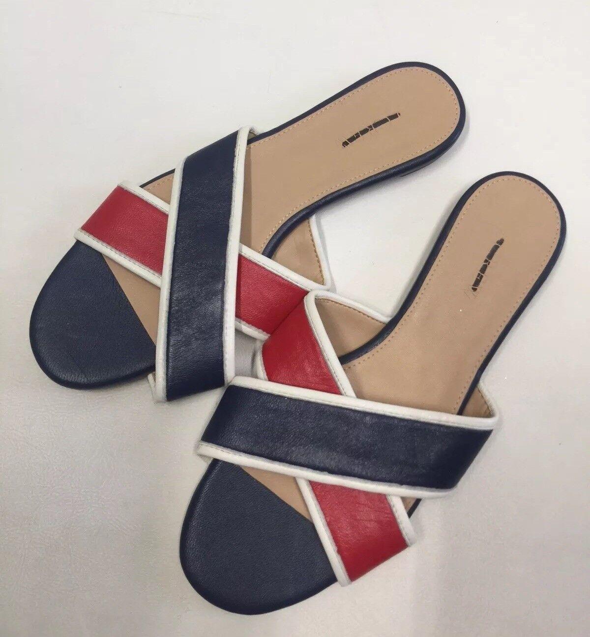 JCrew colorblock Cora crisscross sandals Red bluee 6 leather shoes flats H8777