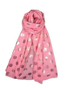 SCARF WITH ROSE GOLD FOIL SPARKLE DOTS SPOTS LADIES SUPERB SOFT QUALITY