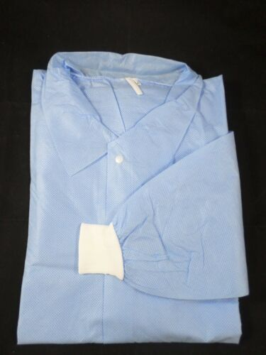 10//pk Broadline Disposable Lab Jacket Traditional Collar Knit Cuffs Waist Length