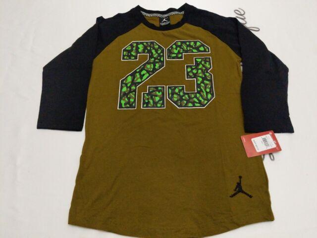 616c6ba2e63d Boys Nike Air Jordan Shirt Size Large Olive Green Black 3 4 Sleeves for  sale online