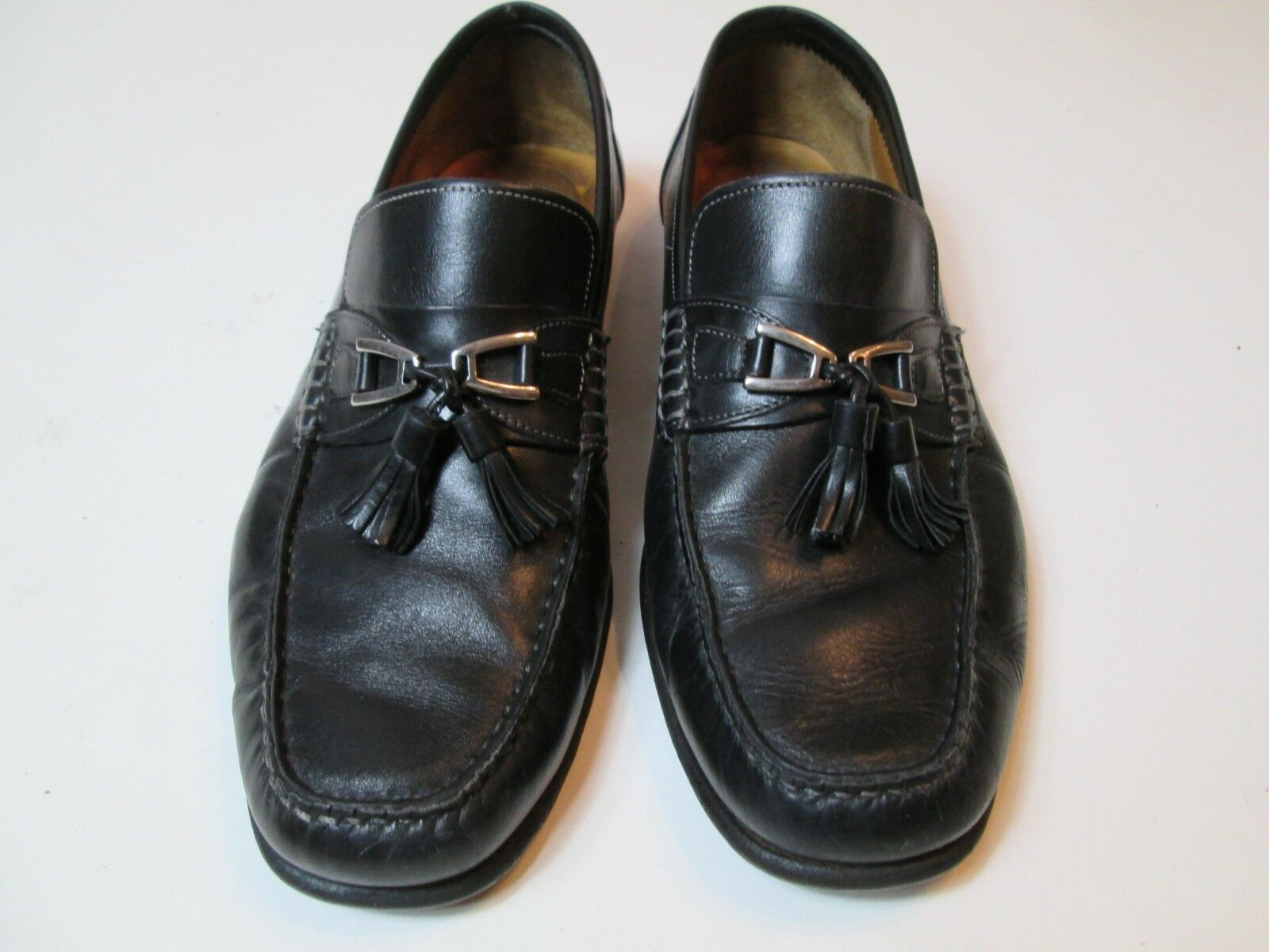 Santoni Men Loafers Size 9 Horsebit Tassel Black  R2