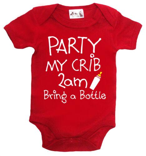 "Funny Baby Bodysuit /""Party My Crib 2 am Bring Bottle/"" Babygrow Newborn Gift"
