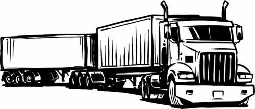18 Wheeler Semi Big Rig Double Trailer Car Truck Window Vinyl Decal Sticker