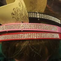Coloured hair alice band plastic diamante hairband 1cm headband bling bands