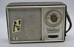 VINTAGE WALTHAM TEN TRANSISTOR RADIO WITH LEATHER CASE