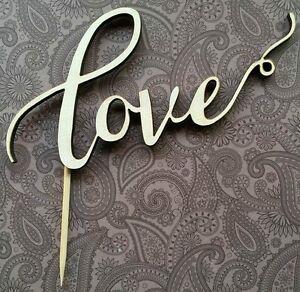 039-Love-039-cake-topper-hand-made-wedding-engagement-anniversary-CREAM-IVORY-COLOUR