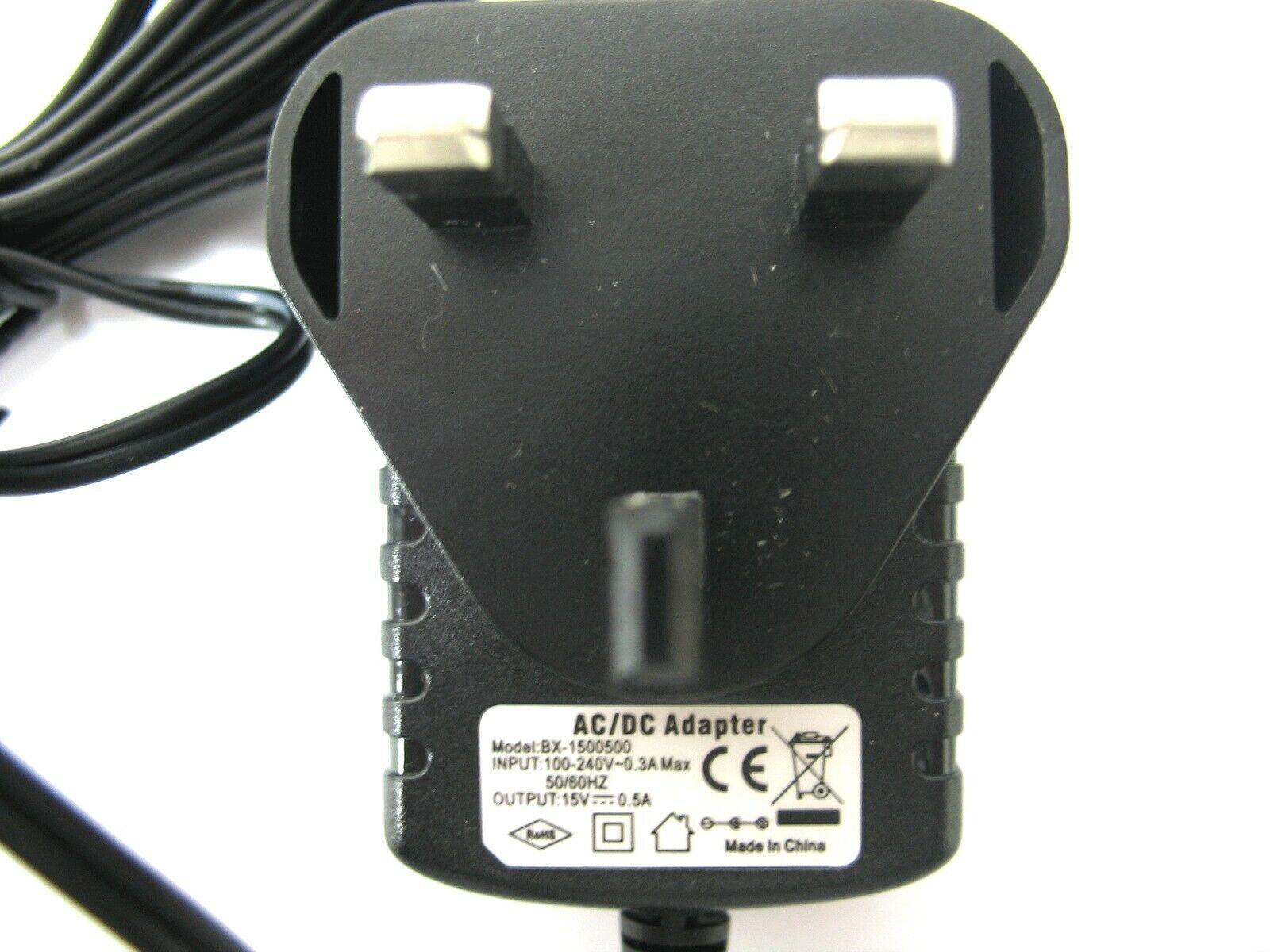 0.5 amp 15 volt AC-DC Mains Regulated Power Adaptor/Supply/Charger (7.5 watt)
