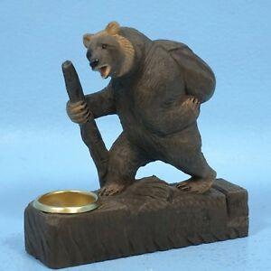 Youngs Wood Bear Triple Candle Holder 9.5-Inch