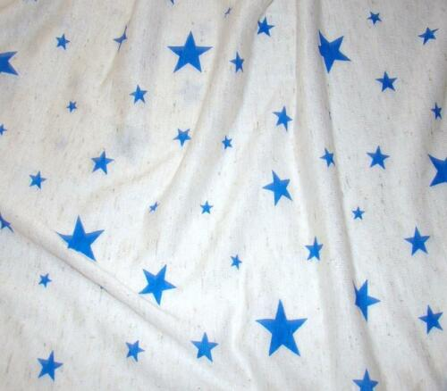 BY THE YARD  JERSEY FABRIC STRETCH OATMEAL COLOR /& BLUE STARS PRINT