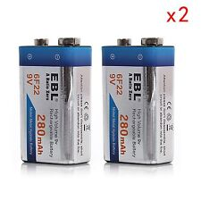 EBL 2x 9V 9 Volt 6F22 Ni-MH 280mAh Rechargeable Batteries for Multimeter MIC