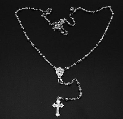 """3mm 24/"""" Italian Rosary Cross Chain Necklace Real Anti-Tarnish Sterling Silver"""