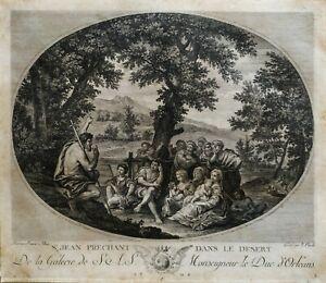 Stampa-Antica-Incisione-originale-francese-1786-XVIII-Galerie-Le-Duc-D-039-Orleans