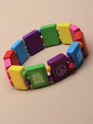 BRIGHT COLOURED WOODEN BEADED BEAD BRACELET WITH PEACE SIGN BAN THE BOMB