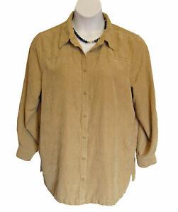 Beige MOLESKIN Shirt Plus Size 1X 18W 20W Blouse AVENUE Casual Sueded Neutral