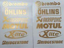 Gold Brembo Öhlins Akrapovic Motorsport Sponsoren Aufkleber Racing Set Motorrad