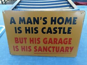 A MAN/'S HOME IS HIS CASTLE. FUNNY VINTAGE-STYLE METAL  SIGN 30X20cm// GARAGE