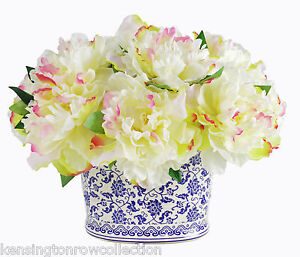 Flower arrangements cream peony silk floral bouquet in chinoiserie image is loading flower arrangements cream peony silk floral bouquet in mightylinksfo
