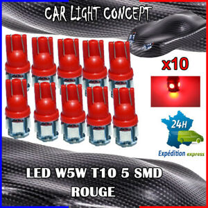 10-x-ampoule-veilleuse-Feu-LED-W5W-T10-ROUGE-XENON-6500k-voiture-auto-moto-5-smd