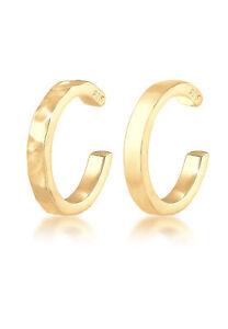 Ohrringe-Earcuff-2er-Set-925-Sterling-Silber-Geo-Organic-Look-Neu-Elli