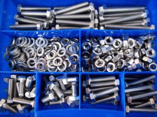 Sortierbox 480 Teile Edelstahl Schrauben Muttern Sortiment V2A M6 DIN 933