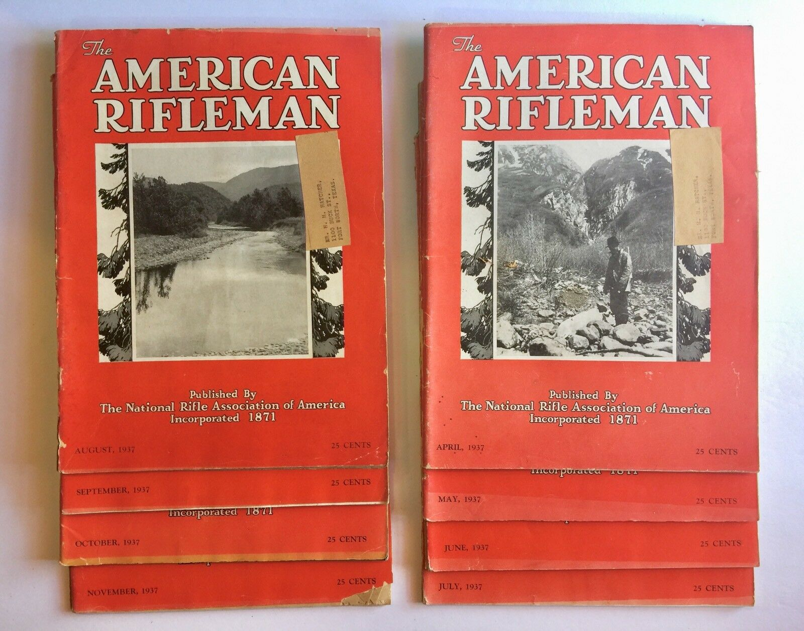 LOT of VINTAGE 1937 THE AMERICAN RIFLEMAN MAGAZINES 8 Issues