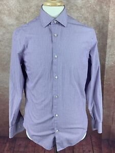 Banana-Republic-Men-039-s-Slim-fit-Non-iron-a-Manches-Longues-Violet-a-Rayures-Shirt-Medium