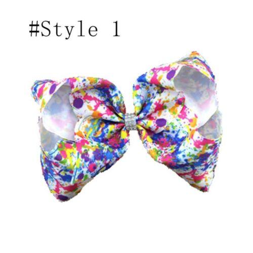 8inch Girl Rainbow Bows Hair Clip large rib Grosgrain Ribbon Bow Hairpin Baby IL