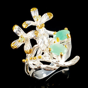 Fine Art Natural Emerald 925 Sterling Silver Ring Size 8.5/R113813