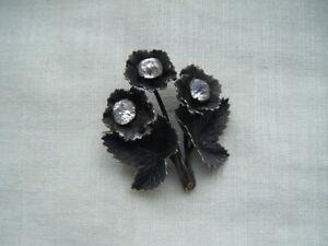 Edwardian-bisuteria-plata-tono-Broche-Pin-Flor-Hoja-Pegar-Piedras