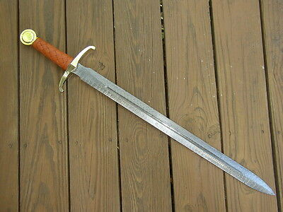 Hand Made Excalibur Damascus Steel & Brass Claymore Broadsword Sword