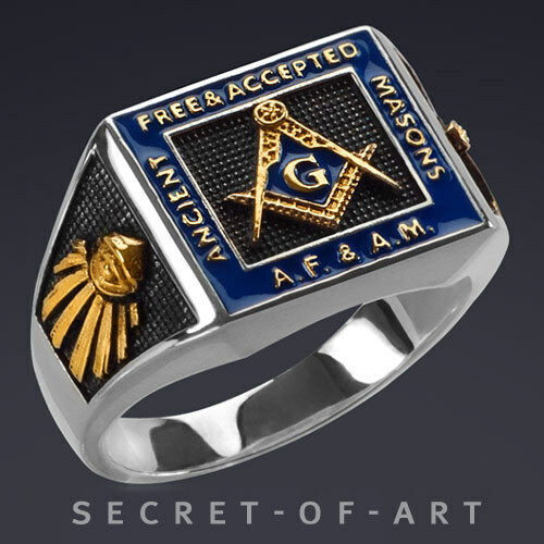 AF & AM SILVER 925 STERLING MASONIC RING ALL SEEING EYE, 24K-GOLD PLATED PARTS