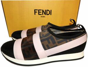 FENDI Logo Slip-On Mesh Sneaker Stretch