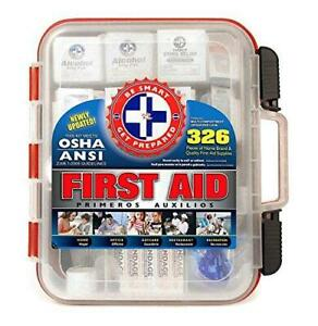 First Aid Kit Hard Red Case 326 Pieces Exceeds OSHA and ANSI Guidelines 100 Peop