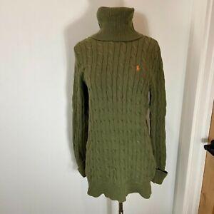 Ralph Lauren Sport Turtleneck Cable Sweater Tunic Green M