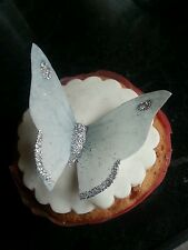 12 Precut Edible Silver & White Glitter Butterflies for cake and cupcake toppers