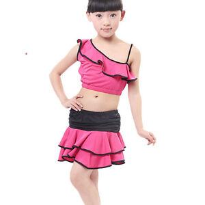 B21-Kinder-Langaermel-Ballett-Trikot-Ballettanzug-Kleid-Gymnastik-in-Pink