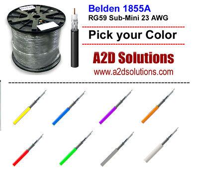 500 feet  Belden 1855A RG59 Sub-Mini 23 AWG Solid Analog /& Digital Coax BLACK