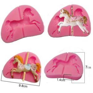 3D-Carousel-Horse-Sugarcraft-Silicone-Mould-Fondant-Cake-Mold-Chocolate-Decor