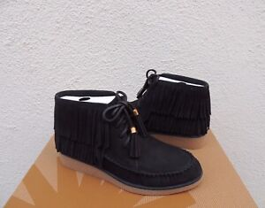 a0b0fe97734f Image is loading UGG-CALEB-BLACK-NUBUCK-FRINGE-MOCCASIN-WEDGE-ANKLE-