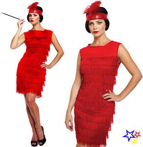4f89b67c417d6 Rouge Robe Charleston Déguisement - Franges des Années 20 Gatsby