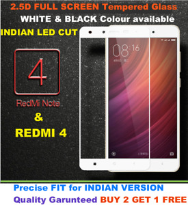 For Xiaomi Redmi Note 4 / Redmi 4 PREMIUM FULL SCREEN 2.5D CURVED Tempered Glass