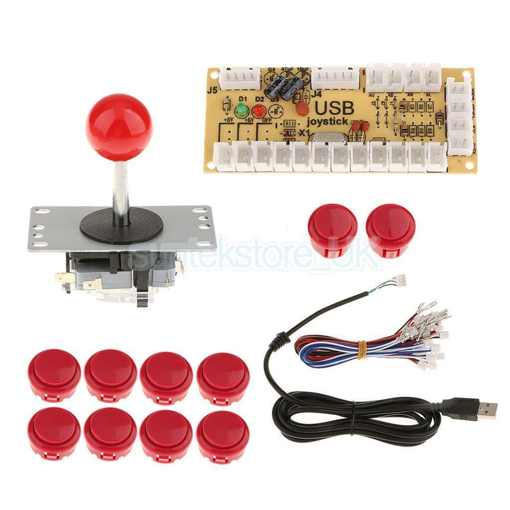 Arcade DIY Kit USB Encoder+PC Joystick+10 Buttons for Game Controller Red