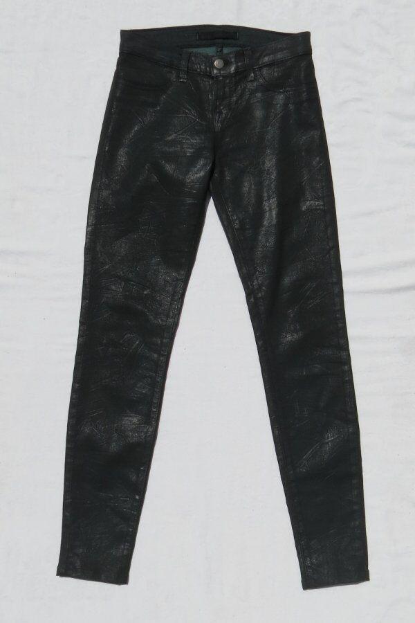 J BRAND USA Dark Green Coated Stretch Denim Super Skinny Jeans size 26 2