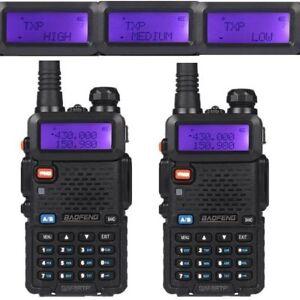2x-Baofeng-UV-5R-TP-Dual-Band-2M-70CM-Tri-Power-1-4-8W-Ham-Radio-Walkie-Talkie
