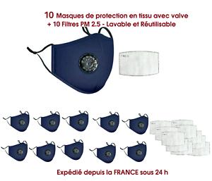 10 Masques bleus de protection tissu-coton, réutilisable,avec valve + 10 filtres