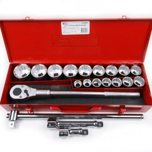 T & E Tools 95321 3/4 Drive 21 Piece Standard SAE Socket Set 12 Point